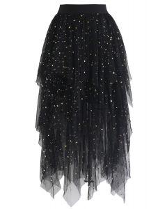 Jupe asymétrique en filet à mailles Shooting Stars en noir