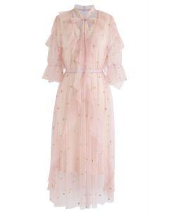 Robe mi-longue à étoiles en tulle rose