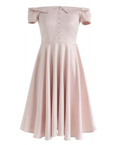 Robe rétro asymétrique mi-longue en rose