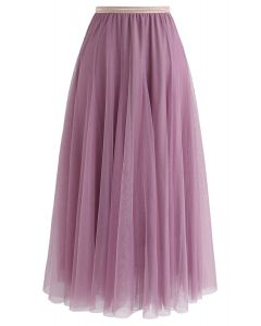 Jupe mi-longue en tulle My Secret Weapon en lilas