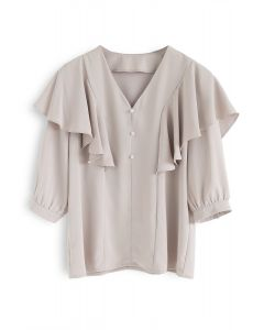 Let's Fall in Love Ruffle Top in Taupe