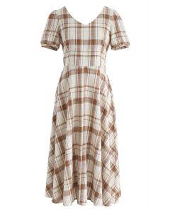 Robe mi-longue à carreaux Sunny Treat en brun