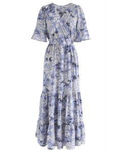 Plant Fairyland Wrap Maxi Dress en Bleu