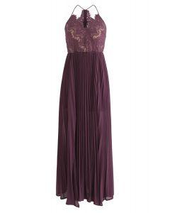 Go Robe gracieuse plissée en dentelle avec violet