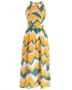 Endless Color Halter Neck Maxi Dress in Yellow