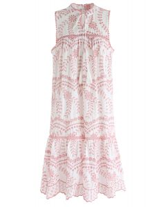 Try To Be Boho Eyelet Dress in Pink Embroidery