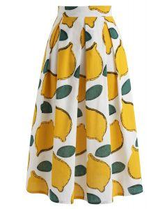 Jupe longue motif citron rafraichissant