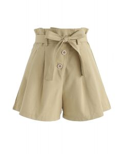Beam Me Up Asymmetric Buttons Shorts in Light Tan