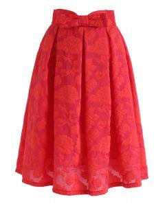 Jupe plissée rose Garden Bowknot en rouge