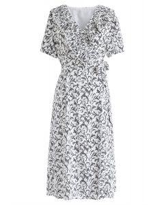 La robe enveloppée florale Fairy Dream en noir