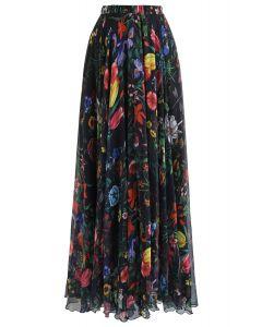 Jupe longue aquarelle à fleurs tropicales en noir