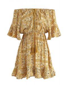 Step Up Boho Off-Shoulder Dress in Mustard