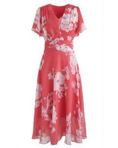 Sweet Surrender - Robe en mousseline à fleurs en rouge