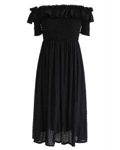 Robe plissée sans épaule dimanche après-midi en noir