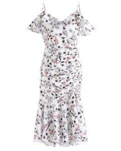 Robe moulante à imprimé floral de nuit Cocktails en blanc