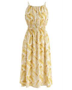 Robe mi-longue à col licol en jaune