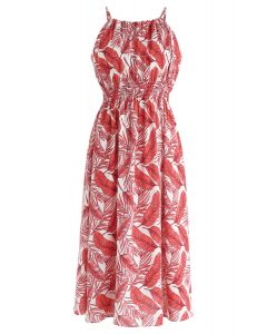 Robe mi-longue à col licol en rouge