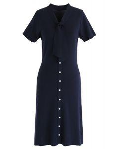 Quelque chose de réel robe midi en tricot bleu marine