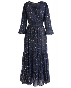 La Gloire de l'Amour Robe à étoiles imprimées bleu marine
