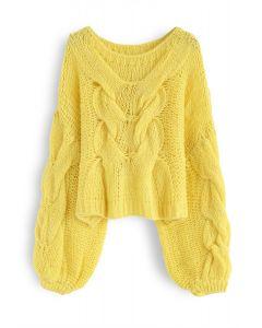 Pull manches bouffantes tricoté à la main en jaune