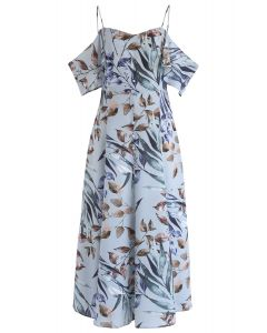 Robe longue à épaules dénudées et à imprimé feuilles