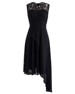 Robe sans manches asymétrique en mousseline de dentelle en noir