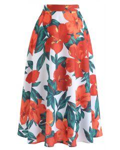 Jupe mi-longue imprimée Morning Glory orange