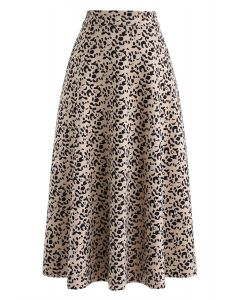 Jupe mi-longue en daim synthétique à imprimé léopard