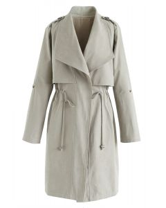 Drawstring Waist Longline Trench Coat in Pea Green