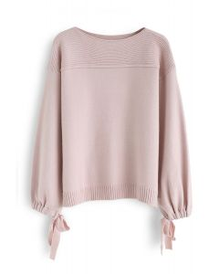 Bubble Sleeves Drawstring Bowknot Knit Sweater in Pink