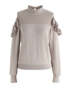 Hand Knit Crochet Cold-Shoulder Knit Top in Taupe