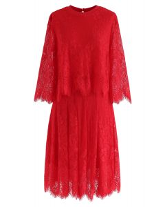 Fake Two-Piece Lace Midi Dress in Red