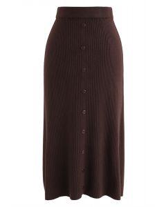 Jupe mi-longue en tricot côtelé à bordure boutonnée en caramel