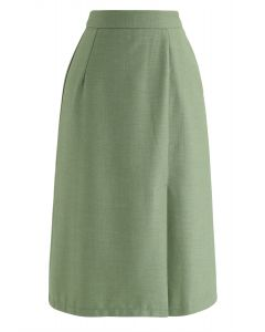 Base Color Split Hem Pencil Skirt in Green