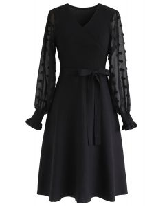 There You Go Wrap Knit Dress in Black