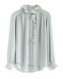 Button Front Ruffle Hi-Lo Shirt in Mint