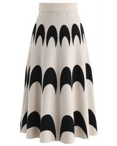 Moon Pattern Knit A-Line Midi Skirt in Ivory