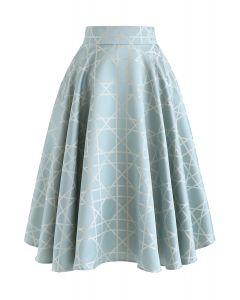Grid Jacquard Satin Midi Skirt in Blue