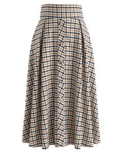 Button Front Plaid A-Line Midi Skirt