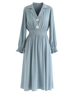 Button Trim Shirred Waist Midi Dress in Blue