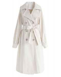 Belted Double-Breasted Longline Coat in Cream