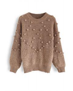 Pom-Pom Trim Chunky Knit Sweater in Tan