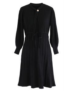 Puff Sleeves Drawstring Pleated Knit Midi Dress in Black