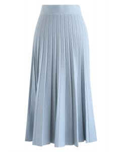 A-Line Pleated Knit Midi Skirt in Blue