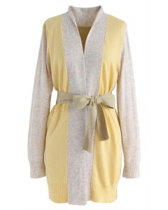 Bright Hue Split Back Belted Cardigan