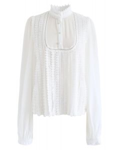 Mock Neck Front Crochet Top in White