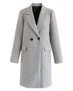 Front Pockets Wool-Blended Longline Blazer