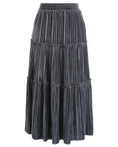 Full Pleated A-Line Velvet Skirt in Grey