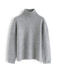 Cozy Daydreams Turtleneck Knit Sweater in Grey