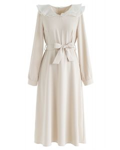 Organza Neck Belted Midi Dress in Cream